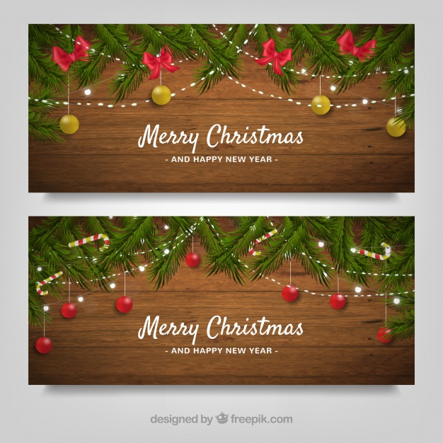 Merry Christmas Wooden Banners