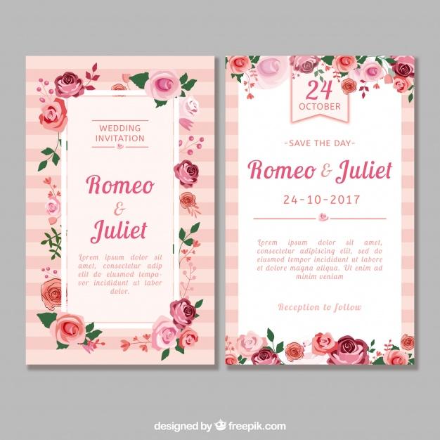 Flat Wedding Invitation With Roses