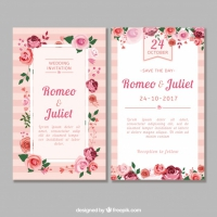 Flat Wedding Invitation With Roses
