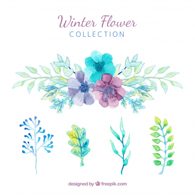 Winter Flowers In Blue
