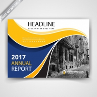 Yellow And Blue Horizontal leaflet Cover
