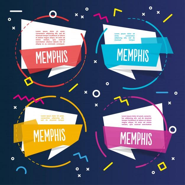 Four Сolorful Memphis Templates