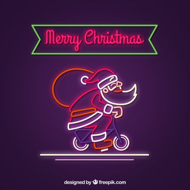 Neon Santa Claus With Bicycle