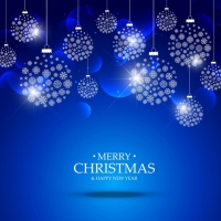 Blue Background Of Christmas Ball