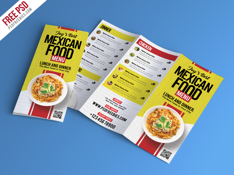 Food Restaurant Menu Brochure PSD