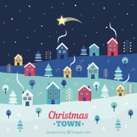 Falling Star Over A Christmas Town