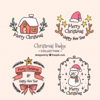 Nice Hand Drawn Christmas Stickers