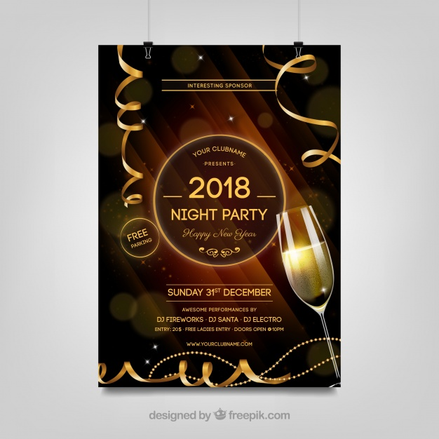 Brown New Year Party Poster