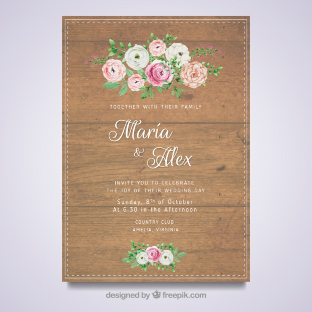 Floral Wedding Card With Wooden Design