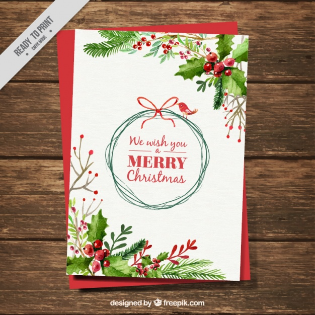 Christmas Card With Watercolor Mistletoe Decoration