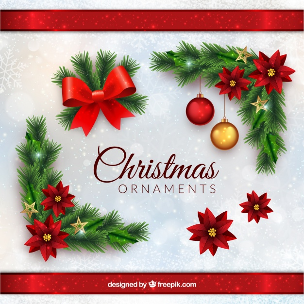 Christmas Ornaments In Realistic Style