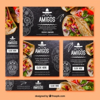 Pack Of Types Of Mexican Food Banners