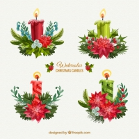 Collection Of Beautiful Christmas Candles In Watercolour