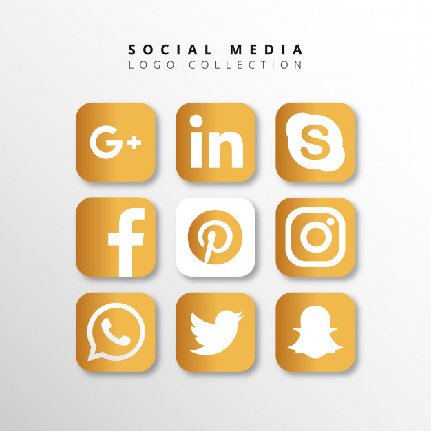 Golden Social Media Logo Collection