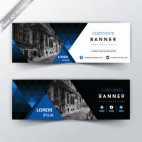 Blue Geometric Back And Front Web Banner