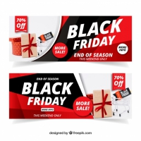 Black Friday Banners With Image Of Cart