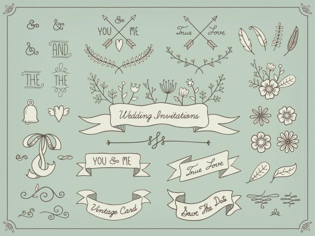 Hand Drawn Wedding Elements