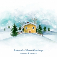 Watercolor Winter House Background