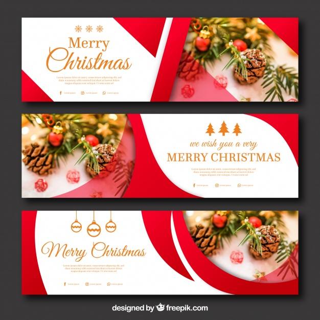 Set Of Abstract Christmas Banners