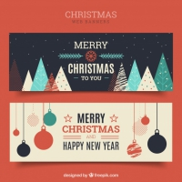 Merry Christmas Vintage Banners