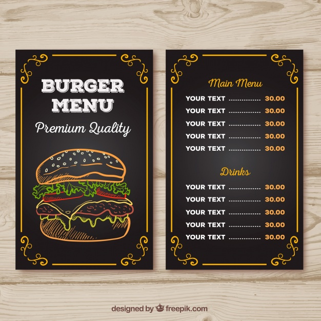 Burger Menu Chalk Design