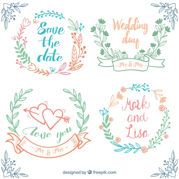 Hand-Drawn Set Of Wedding Frames