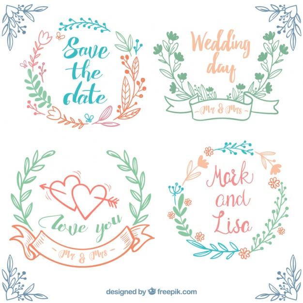 Hand-Drawn Set Of Wedding Frames