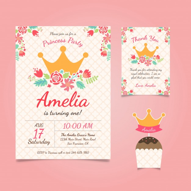 Princess Birthday Invitation With Flowers