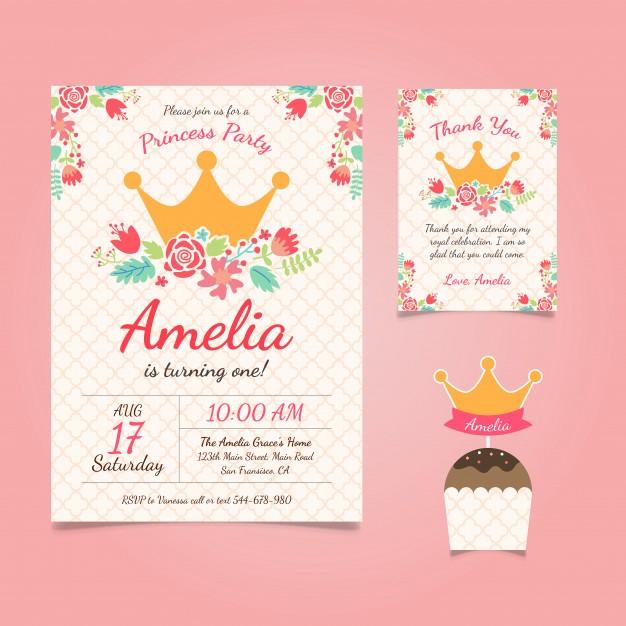 Princess Birthday Invitation With Flowers