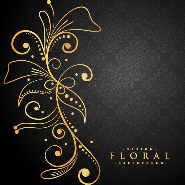 Stylish Golden Floral Decoration On Black Background