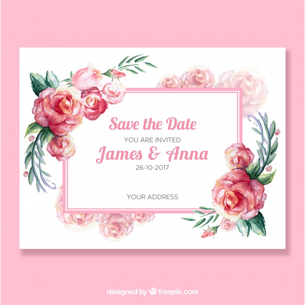 Cute Wedding Invitation With Watercolor Roses