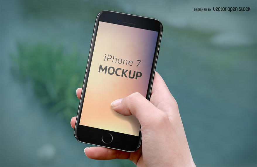 Iphone 7 Mockup On Hand Template