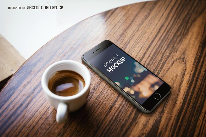 Iphone 7 Mockup With Coffee