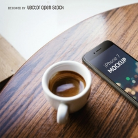 Iphone 7 Mockup With Coffee