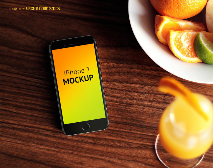 Iphone 7 Mockup With Food