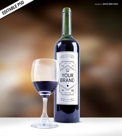 Wine Bottle Etiquette Mockup
