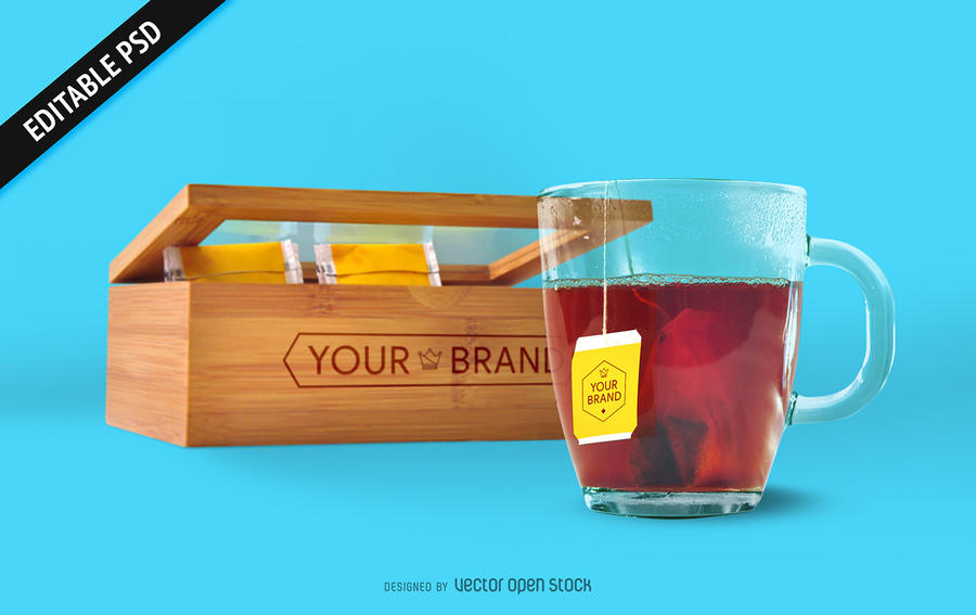 Tea Bag And Box Mockup
