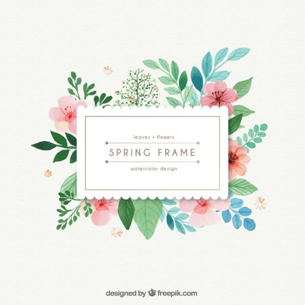 Watercolor Spring Frame