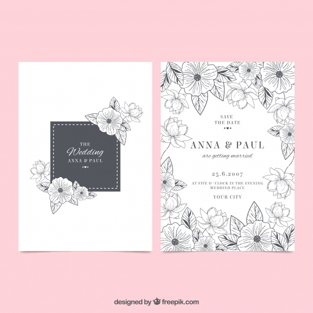 Wedding Invitation With Flower Sketches