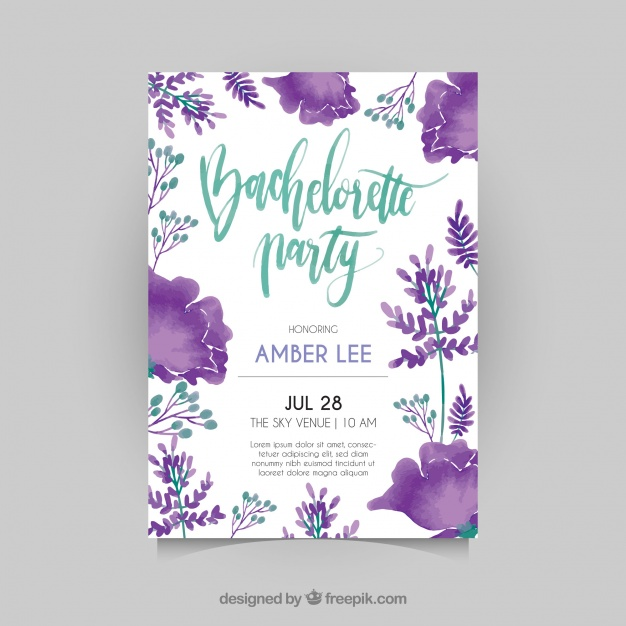 Bachelorette Invitation With Watercolor Flowers
