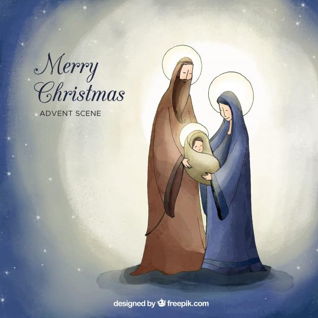 Watercolor Cute Nativity Scene