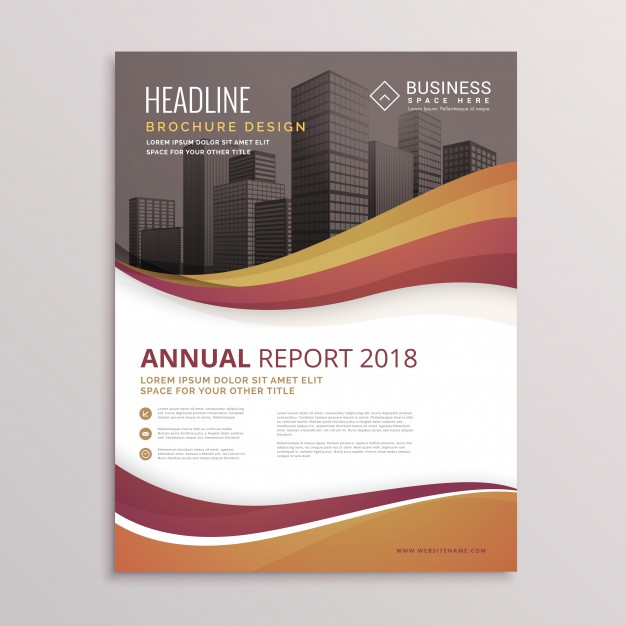 Business Brochure With Brown Tones And Wavy Shapes