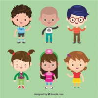 Set Of Beautiful Children Characters