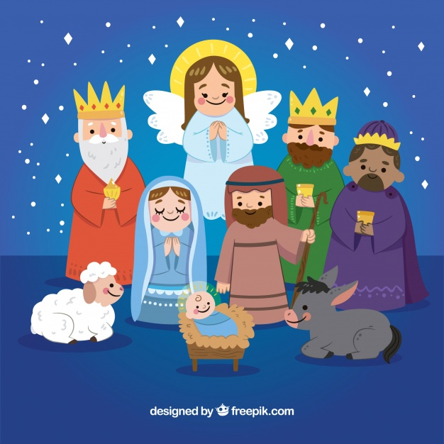 Cute Hand Drawn Nativity Scene