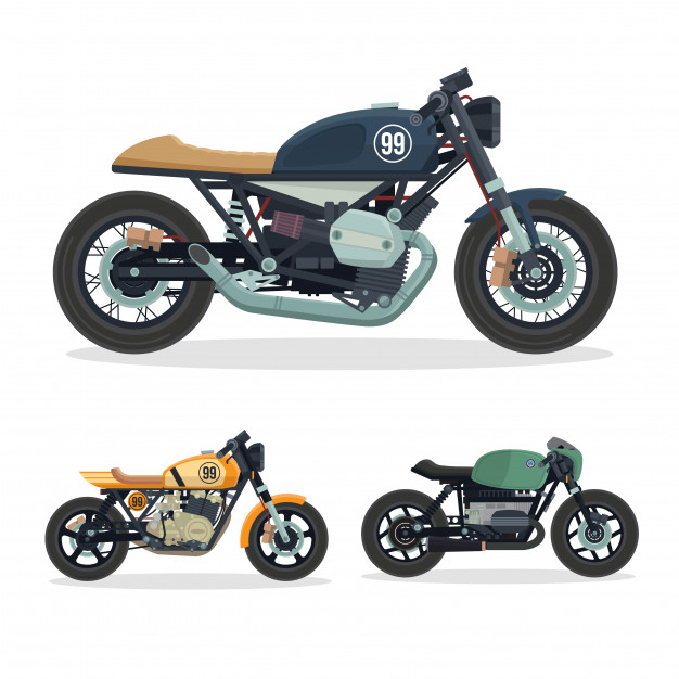 Vintage Cafe Racer Motorcycle Illustration Set