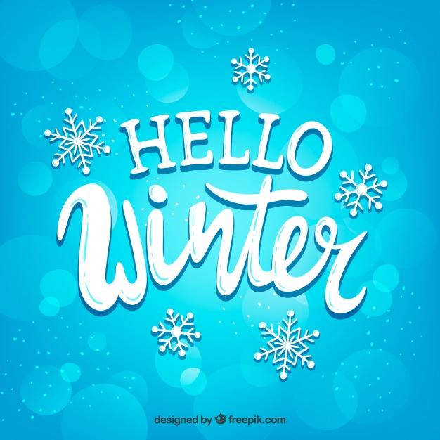 Blue Background Hello Winter
