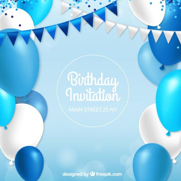 Birthday Invitation With Blue Balloons