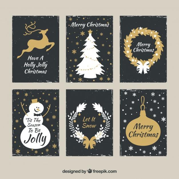 Golden Set Of Christmas Cards