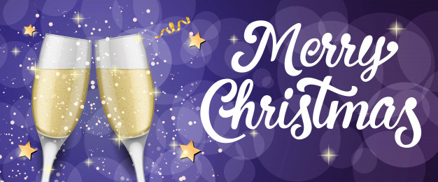 Merry Christmas Lettering With Champagne Flutes