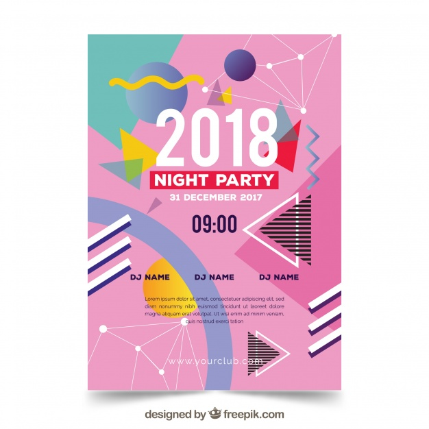 Pink New Year Party Poster In Memphis Style